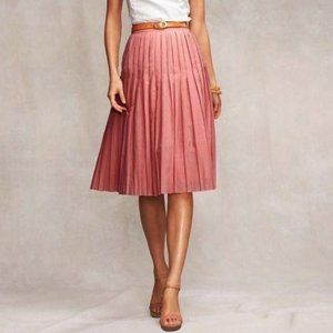 Talbots Petite Coral Pink A-Line Pleated Skirt 4P